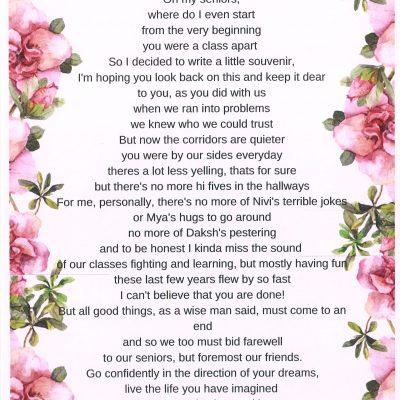 A Farewell Poem by Mariyah Rehmani | Best IB School In Pune
