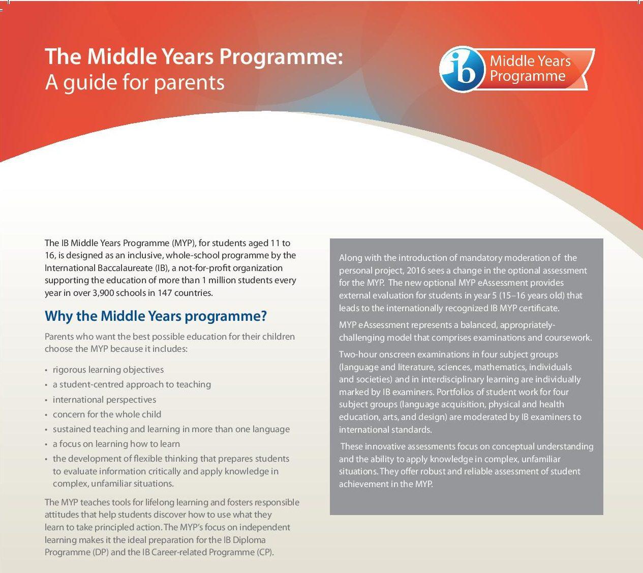 MYP Factsheets for parents