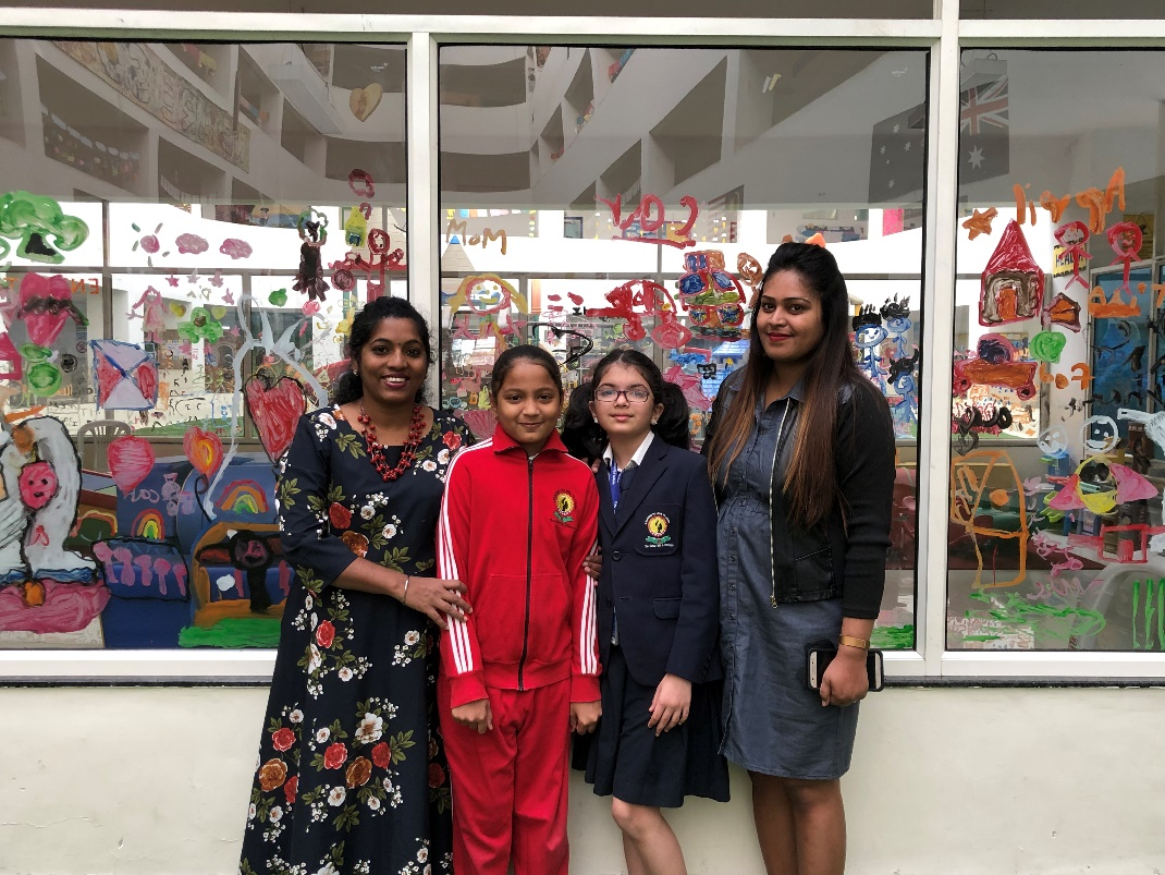 Bhavika and Samaira with their Teachers