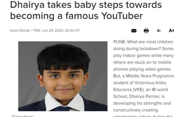 Dhairya takes baby steps towards becoming a famous YouTuber